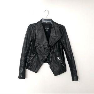 Trouvé Black Leather Moto High Low Jacket